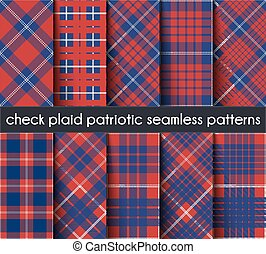 Set Patriotic Check Plaid Seamless Pattern Background