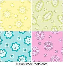 set, patterns., seamless, natura
