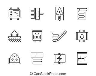 set, pavimento, riscaldare, icone, vettore, nero, linea