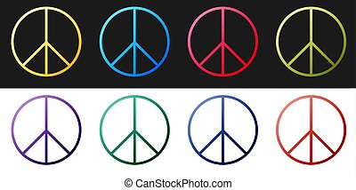 Set Peace sign icon isolated on black and white background. Hippie symbol of peace. Vector