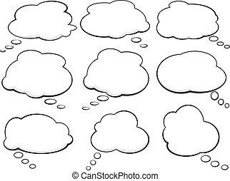 set, pensiero, discorso, comico, palloni, bolle