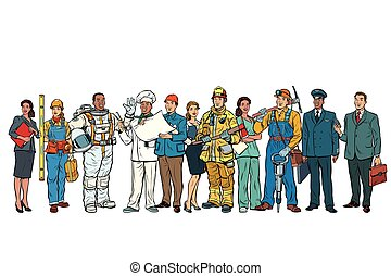 Set people of different professions standing in a row on white background. Pop art retro vector illustration