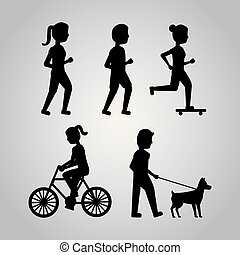 set people various activities walk runner riding bicycle skater and dog image