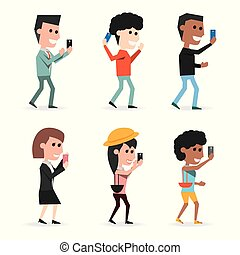 set people with technology smartphone in the hand