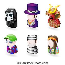 set, persone, avatar, icona, internet