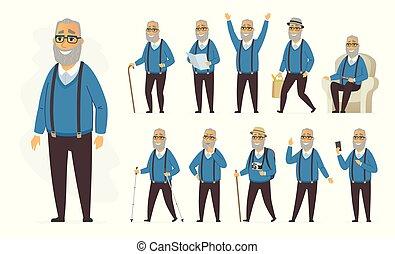 set, persone, carattere, -, vettore, anziano, cartone animato, uomo