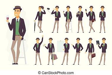 set, persone, carattere, -, vettore, elegante, cartone animato, uomo