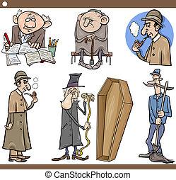 set, persone, cartone animato, illustrazione, retro
