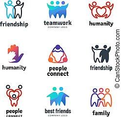 set, persone, comunità, vettore, insieme, cooperazione, squadra, logotipo, amicizia, amichevole