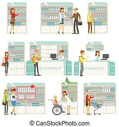 set, persone, droghe, clienti, scene, farmacia, cosmetica, scegliere, sorridente, farmacia, farmacisti, acquisto