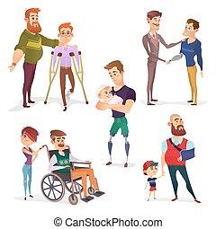 set, persone, gli utenti disabili, isolato, vettore, white.,...