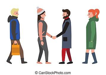 set, persone, icone, illustrazione, vettore, amici