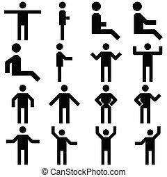 set, persone, immagine, icons., vettore, posa