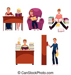 set, persone, libri, studiare, biblioteca, lettura