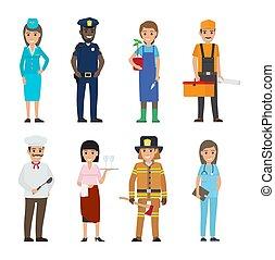 set, persone, professioni, icone, caratteri, cartone animato