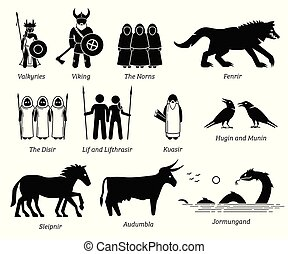 set, persone, scandinavo, creature, antico, caratteri, mitologia, mostri, icona