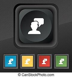 set, persone, simbolo., struttura, colorito, bottoni, parlare, vettore, nero, elegante, cinque, icona, tuo, design.