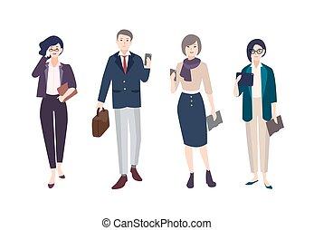 set, persone ufficio, femmina, clothing., gadgets., vestito, characters., far male, il portare, uomini affari, collezione, fascio, impiegati, donne, workers., illustration., artoon, vettore, maschio, o, vestiti