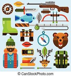 set, pesca, caccia, icone