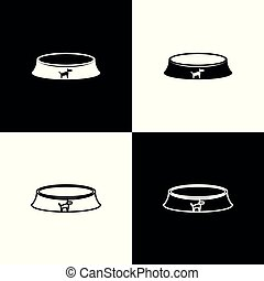Set Pet food bowl for cat or dog icons isolated on black and white background. Vector Illustration