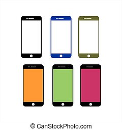 set phone full color icon vector illustration