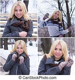 Set photos of a young blonde girl