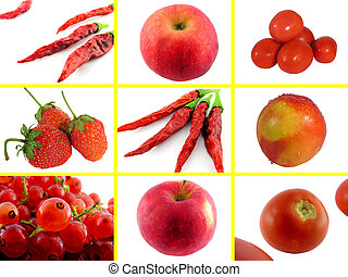 Set photos of red fruits and vegetables.
