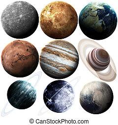 set, pianeti, ammobiliato, system., immagine, isolato, questo, elementi, solare, nasa