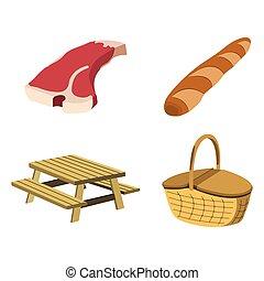set, picknick, witte , illustratie, etiket, achtergrond., vector, icon., style., spotprent, bbq