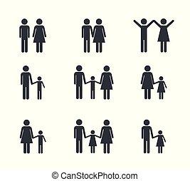 set pictogram family member group