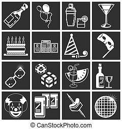set, pictogram, feestje, reeks