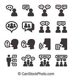 set, pictogram, mensen pratend