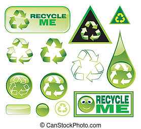 set, pictogram, recycling