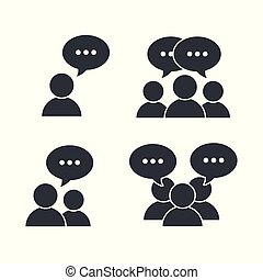 set pictogram social people with chat bubble