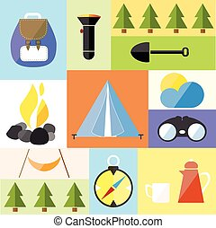 set, pictogram, wandelen, reizen, kamp, illustratie, vector, bos, tentje, avontuur
