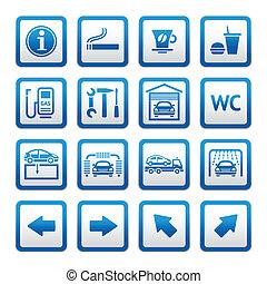 Set pictograms. Car services. Gas s