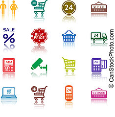Set pictograms supermarket services, Shopping colour icons