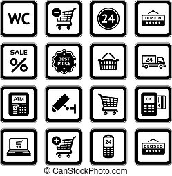 Set pictograms supermarket services, Shopping Icons. Black