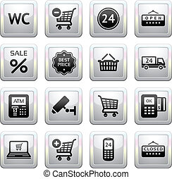 Set pictograms supermarket services, Shopping Icons. Gray....