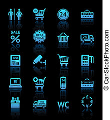Set pictograms supermarket services, Shopping blue icons