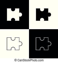Set Piece of puzzle icons isolated on black and white background. Modern flat, business, marketing, finance, internet concept. Line, outline and linear icon. Vector Illustration