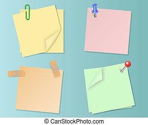 Set pieces of paper