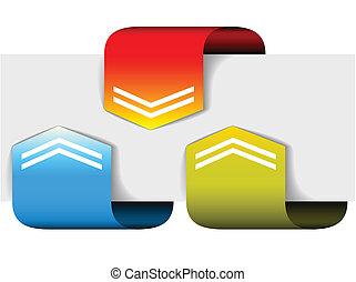 set, pijl, kleurrijke