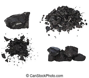 pile black coal isolated on white - Set pile black coal...