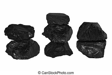 set pile black coal isolated