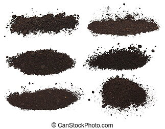 set pile dirt isolated on white background with clipping ...