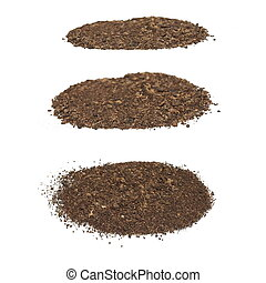 set pile dirt isolated on white