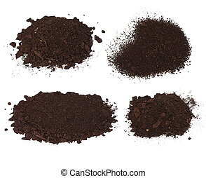 Set pile heap of soil humus isolated on white background