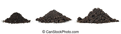 Set pile of soil isolated on a white background. Set pile dirt. Pile heap of soil humus.
