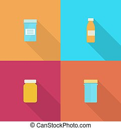 Pill bottle for capsules. - Set Pill bottle isolated icon on...